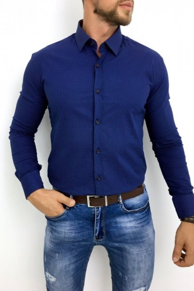 Koszula męska błękitna delikatny wzór H6