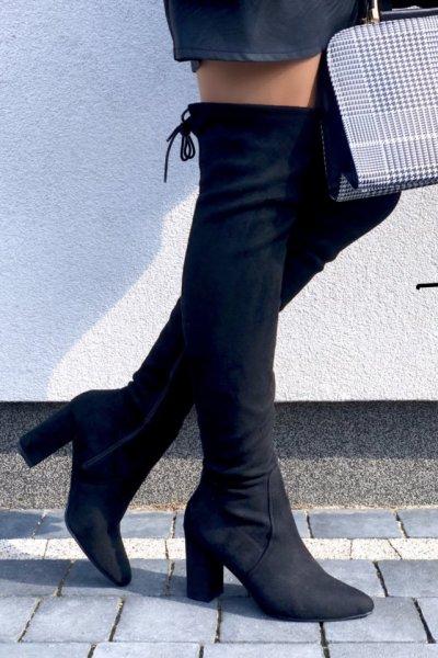 Kozaki za kolano na obcasie - black