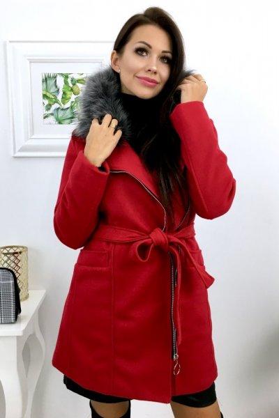Płaszcz AUTUMN + futerko - czerwony