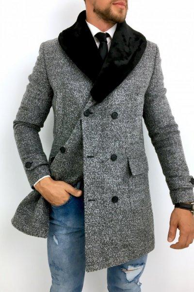 Płaszcz męski dwurzędowy drobny wzór H7