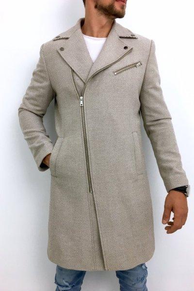 Płaszcz męski ramoneska beż wzór H10