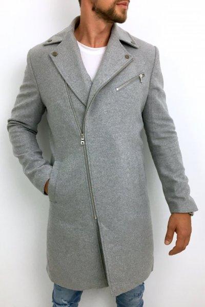 Płaszcz męski ramoneska gładki szary H11