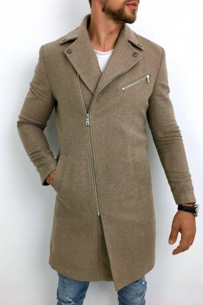 Płaszcz męski ramoneska gładki beż H11