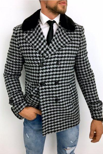 Płaszcz męski w pepitkę z odpinanym futrem