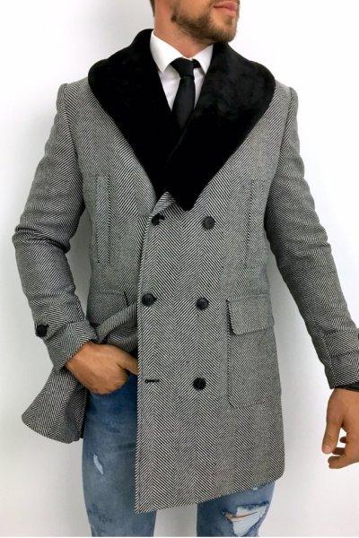 Płaszcz męski dwurzędowy drobny wzór szaro czarny H6