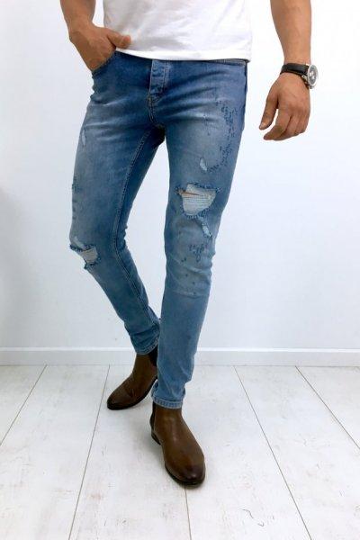 Spodnie męskie jeans z przetarciami 1039