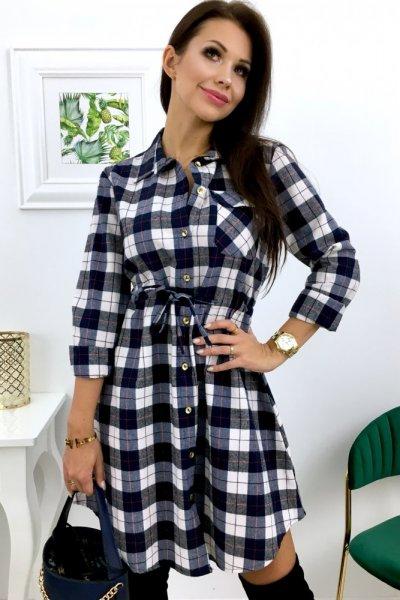 Sukienka HOUSE - ecru/blue