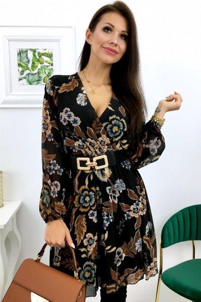 Sukienka w kwiaty LOLA - black/brown/camel