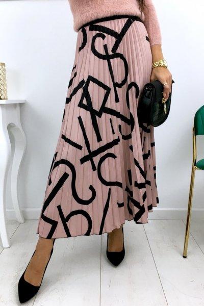 Spódnica STYLE midi/maxi - pink/black