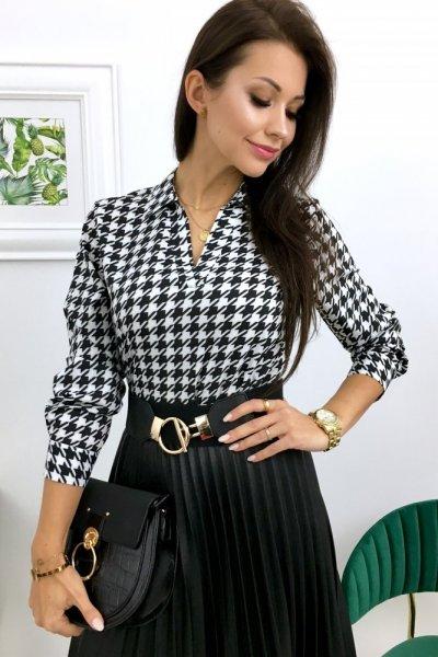 Bluzka w pepitkę PURRA - black/white