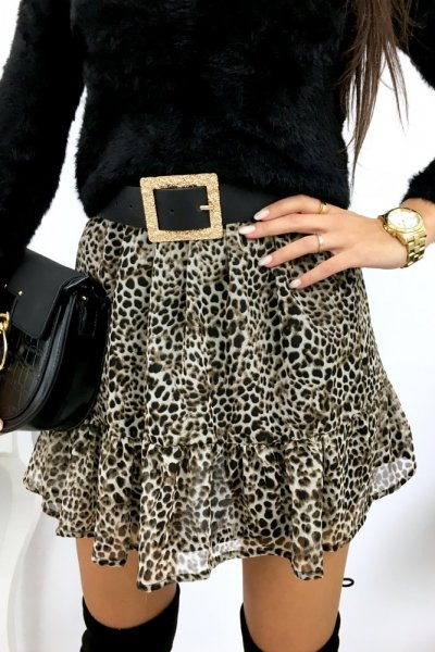 Spódnica NOVA LUX w panterkę - beige