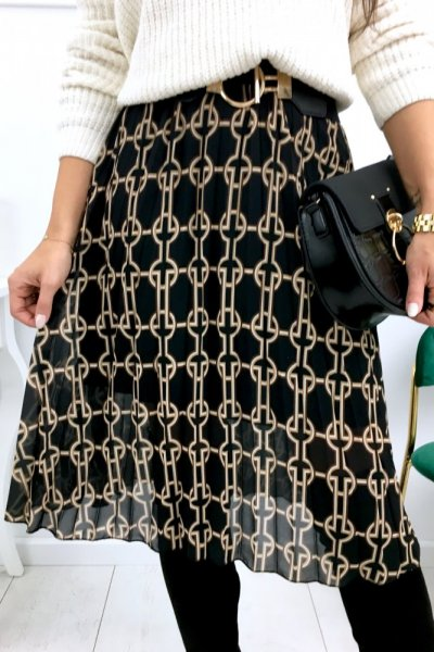Spódnica szyfon midi wzory - black