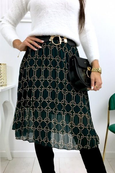 Spódnica szyfon midi wzory - green