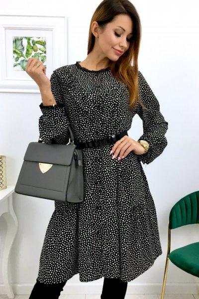 Sukienka z żabotem - black/white