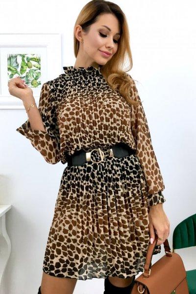 Sukienka LOLA 2 - beige/black/camel