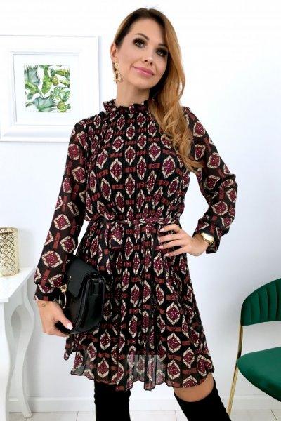 Sukienka LOLA 2 wzór - black/bordo