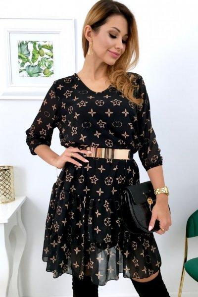 Sukienka MOON lui - black/camel