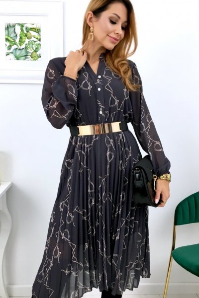 Sukienka szyfon midi wzór - grey