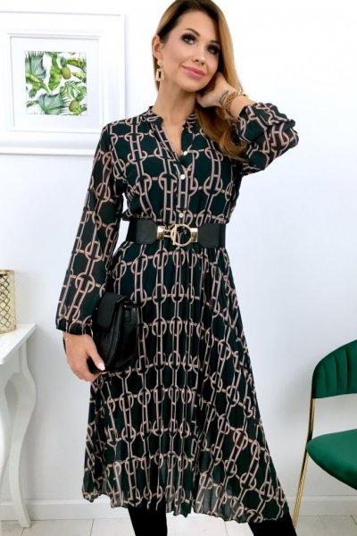 Sukienka szyfon midi wzór - ciemna zieleń