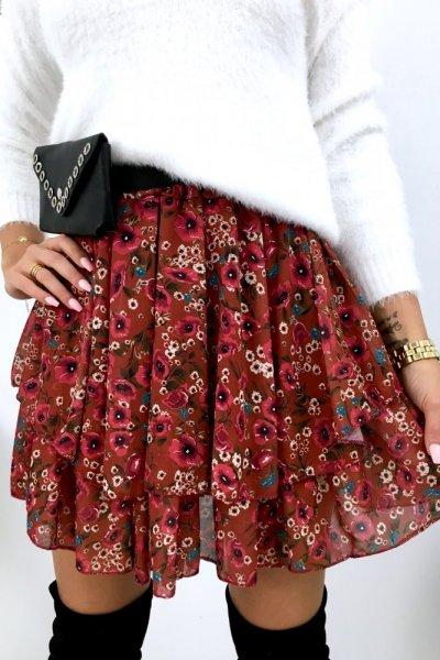 Spódnica mini szyfon FLOWERS - bordo