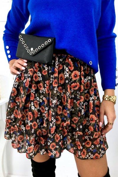Spódnica mini szyfon FLOWERS - black
