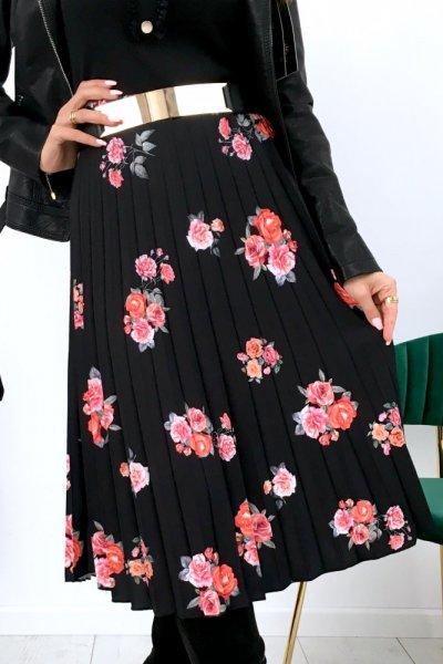 Spódnica DOROTTY midi flowers - black