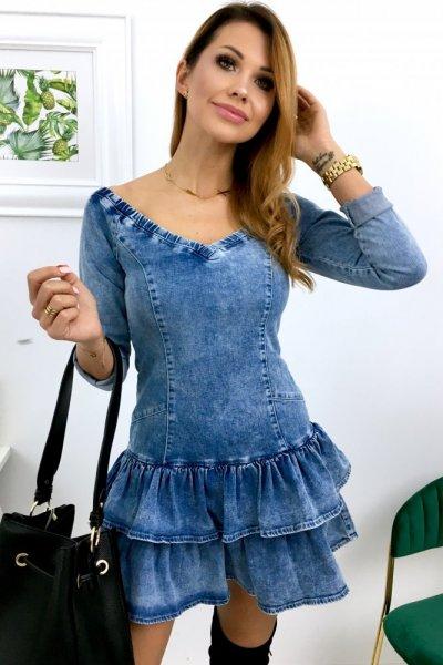 Sukienka VERSO 2 jeansowa sexy arms - blue