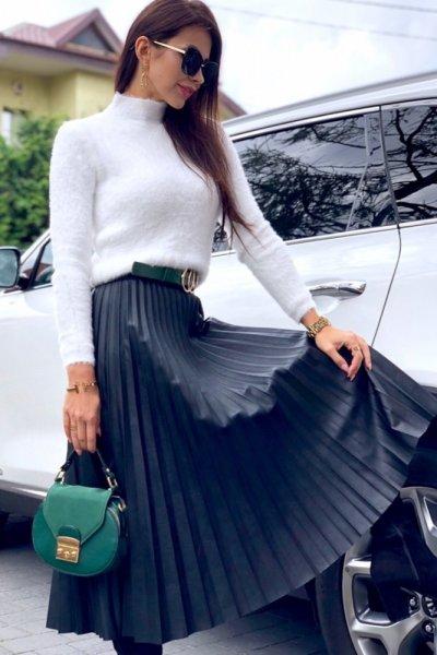 Spódnica DOROTTY midi z eco skóry - black