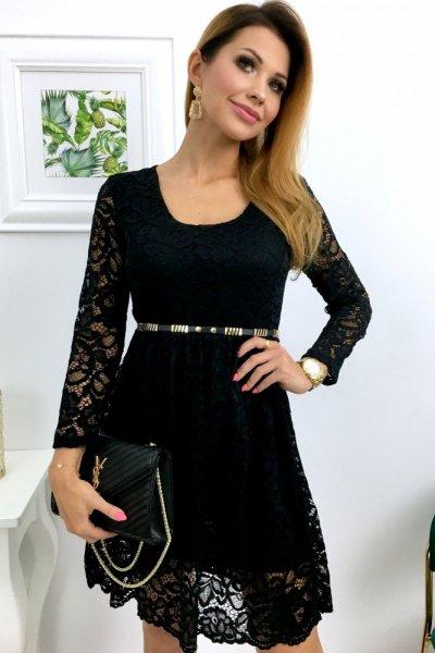 Sukienka PAMMY koronkowa - czarna