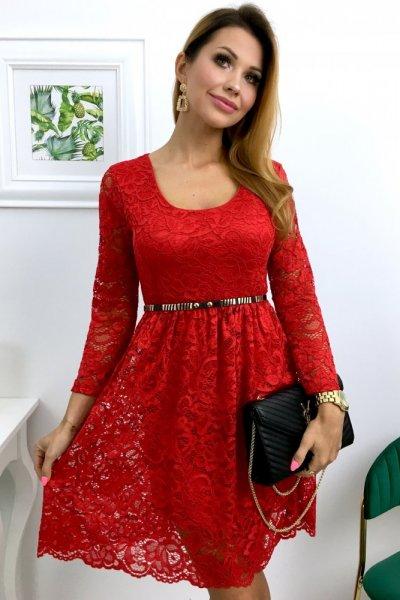 Sukienka PAMMY koronkowa - czerwień