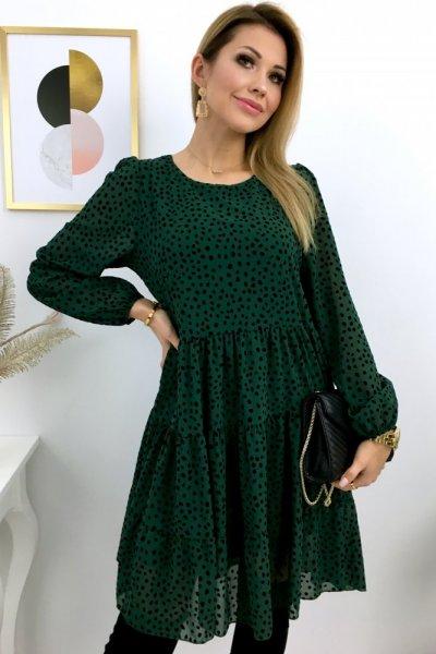 Sukienka w nakrapiane kropki - green