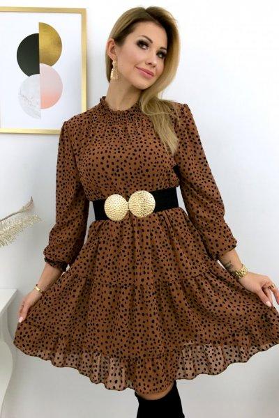 Sukienka w nakrapiane kropki - camel