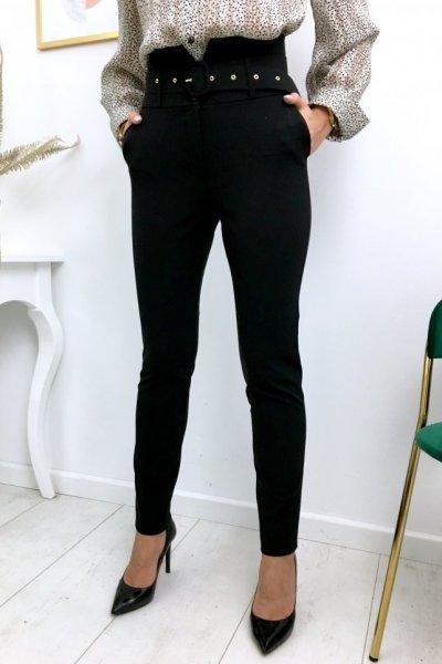 Spodnie/cygaretki w kant, wysoki stan + pasek - black