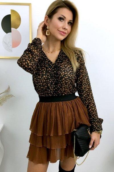 Bluzka STREFFA star żabot - black/camel