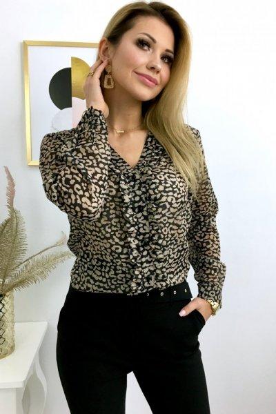 Bluzka STREFFA print żabot - black/beige