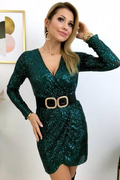 Sukienka PARTY cekinowa, na zakładkę - green