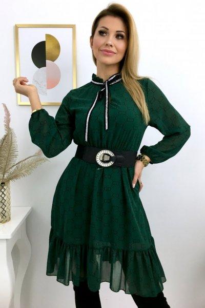 Sukienka szyfon wzór ( atłasowe srebrne wiązanie ) - green