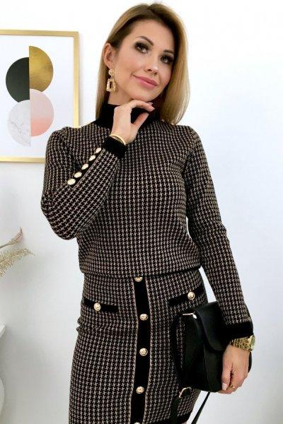 Sweter w pepitkę LOUIS - black/camel