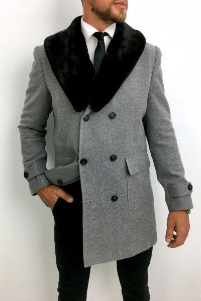 Płaszcz męski dwurzędowy szary H10