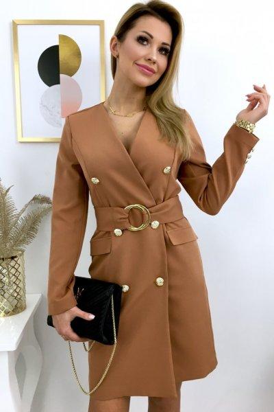 Sukienka DONNA z pakiem - camel