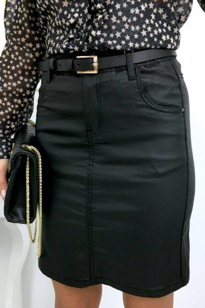 Spódnica ołówkowa woskowana ( J855 ) - black