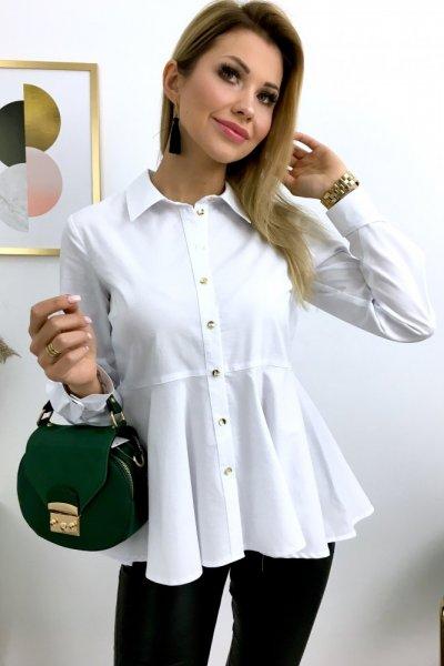 Koszula z asymetryczną baskinką - white