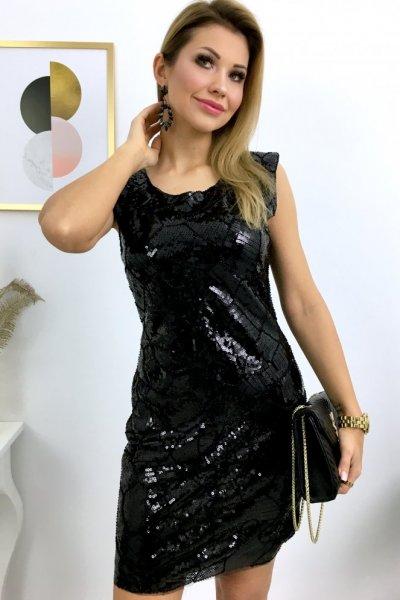 Sukienka REALY - cekiny czarna ( A8036 )