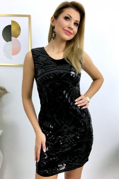 Sukienka REALY - cekiny czarna - ( F910 )