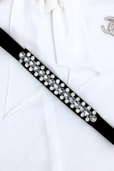 Pasek na gumie + srebrne kamienie 1 - black/silver