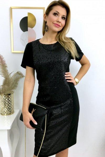 Sukienka HAGA z cekinami - black