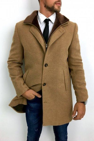 Płaszcz męski zimowy H12 Kamel
