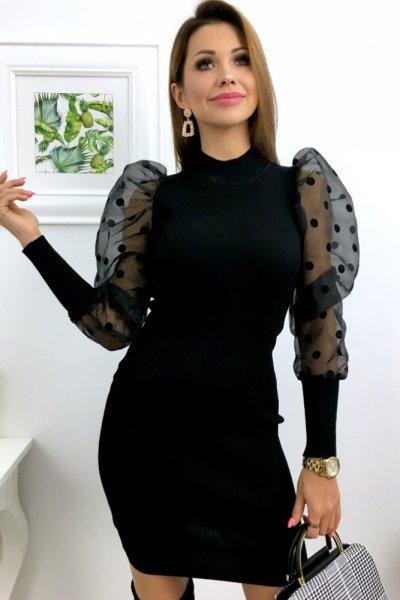 Sukienka PARIS szyfonowy rękaw w grochy - black