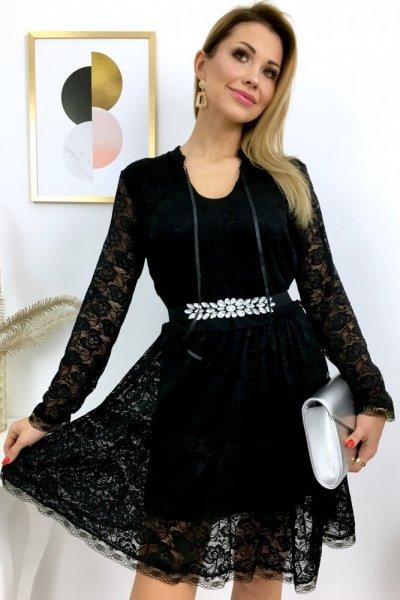 Sukienka MINU koronkowa - czarna