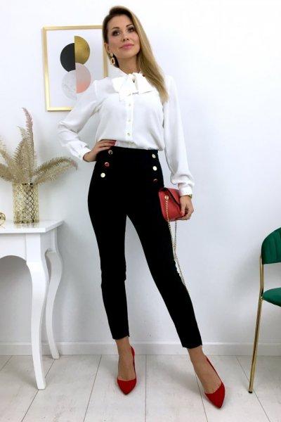 Spodnie/cygaretki w kant + złote guziki - black